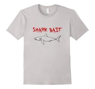 Men's I Love Sharks Great White Shark Bait T Shirt Medium Silver