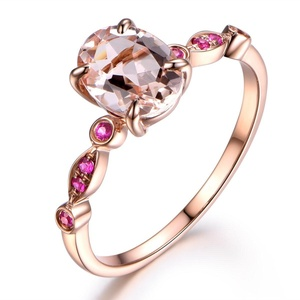 Pink Morganite Engagement Ring,8x6mm Oval Cut Stone,Solid 14K Rose Gold,Split Shank Band