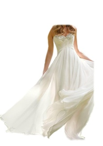 DlassDress Beading Strapless Beach Wedding Dresses Simple Bride Dress Chiffon Gown (22W, Ivory)