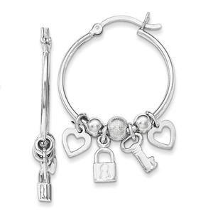 .925 Sterling Silver 37 MM Polished Fancy key, Heart, Lock Hoop Earrings
