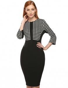 Bodycon Slim Patchwork Zipper Elegant Dress medium black