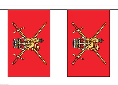 British Army 1953 to 1999 Variant Material String Flags / Bunting 10m (33') Long With 28 Flags