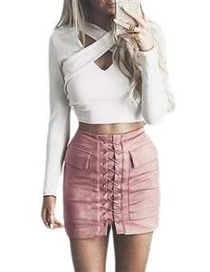 Cfanny Women's Faux Suede Lace Up Front High Waist Mini Skirt,Pink,Small