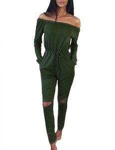 Women's Long Sleeve Off Shoulder Drawstring Knee Hole Long Pants Jumpsuit Romper Green L