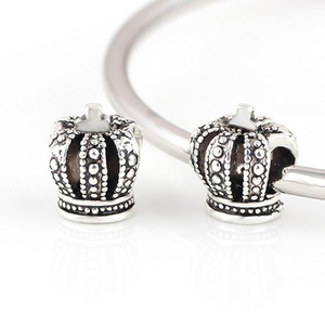 Charm Central Charm Beads for Charm Bracelets - Fits Pandora Bracelets (12 pc, Silver Tone Crown)