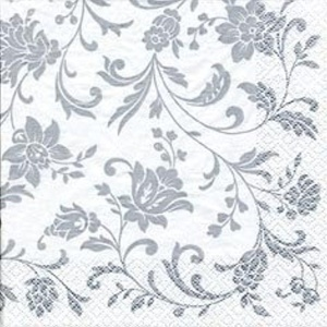 Arabesque/Damask White with Silver Print Party Beverage Napkins x 20 by Napkins - Patterned