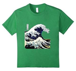 Kids Kanagawa Japanese The great wave T shirt 8 Grass