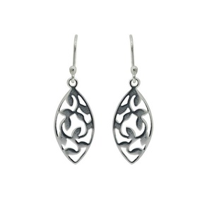 Tomas Sterling Silver Oval Hook Earrings with Cut Out Leaf