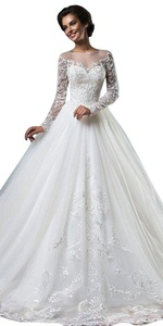 JoyVany Scoop Neck Long Sleeve Wedding Dress Sweep Train Tulle Lace Bridal Gowns White Size 24W