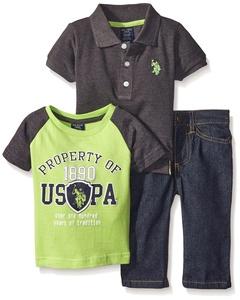 U.S. Polo Assn. Baby Boys' Short Sleeve Polo, Color Block T-Shirt, and Denim Jean Set