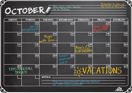Flat Harmony Magnetic Chalkboard Calendar (12x17