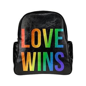 Gay Marriage Love Win Unisex Pu Leather Computer Laptop Backpack, Travel Bag Hiking Knapsack,School College Student Backpacks Shoulder Bags For Women/Girls,Men/Boys