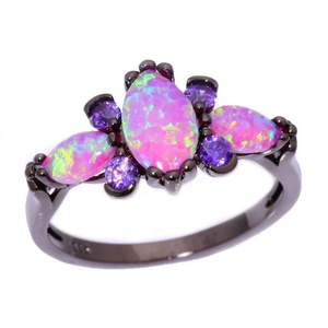 FT-Ring Pink Fire Opal & Amethyst Jewelry Wedding Ring For Women Engagement Wedding Bridal Rings (10)