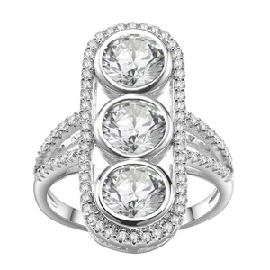 KIVN Fashion jewelry Pave CZ Cubic Zirconia Wedding Bridal Engagement Rings for Women(White) (7)