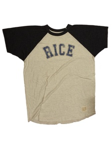 Rice Owls Retro Brand Light Gray Navy Burnout Short Sleeve Crew Neck T-Shirt (M)