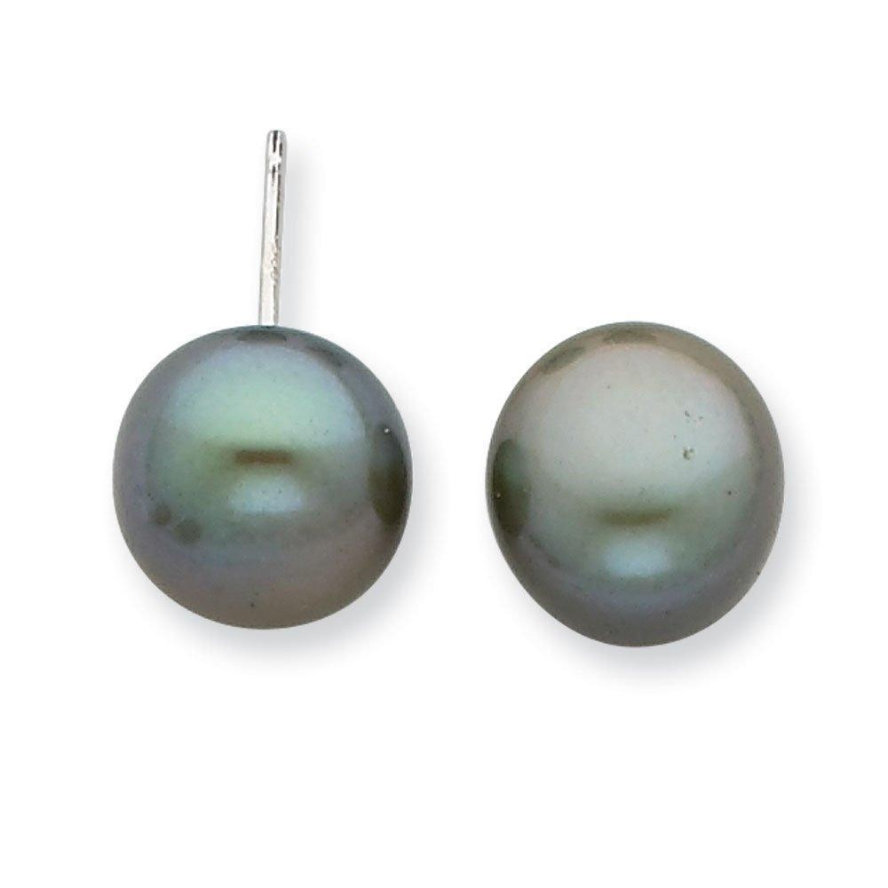 .925 Sterling Silver Green 10-11MM Freshwater Cultured Button Pearl Post Stud Earrings