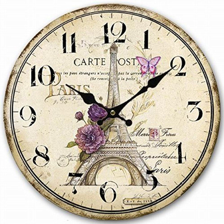 line Store Retro Vintage Style Clock Sketch Paris Eiffel