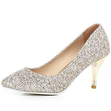 Pointed Toe Gold Glitter Stiletto