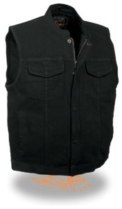 M SOA BLK DENIM VEST M by Milwaukee Denim