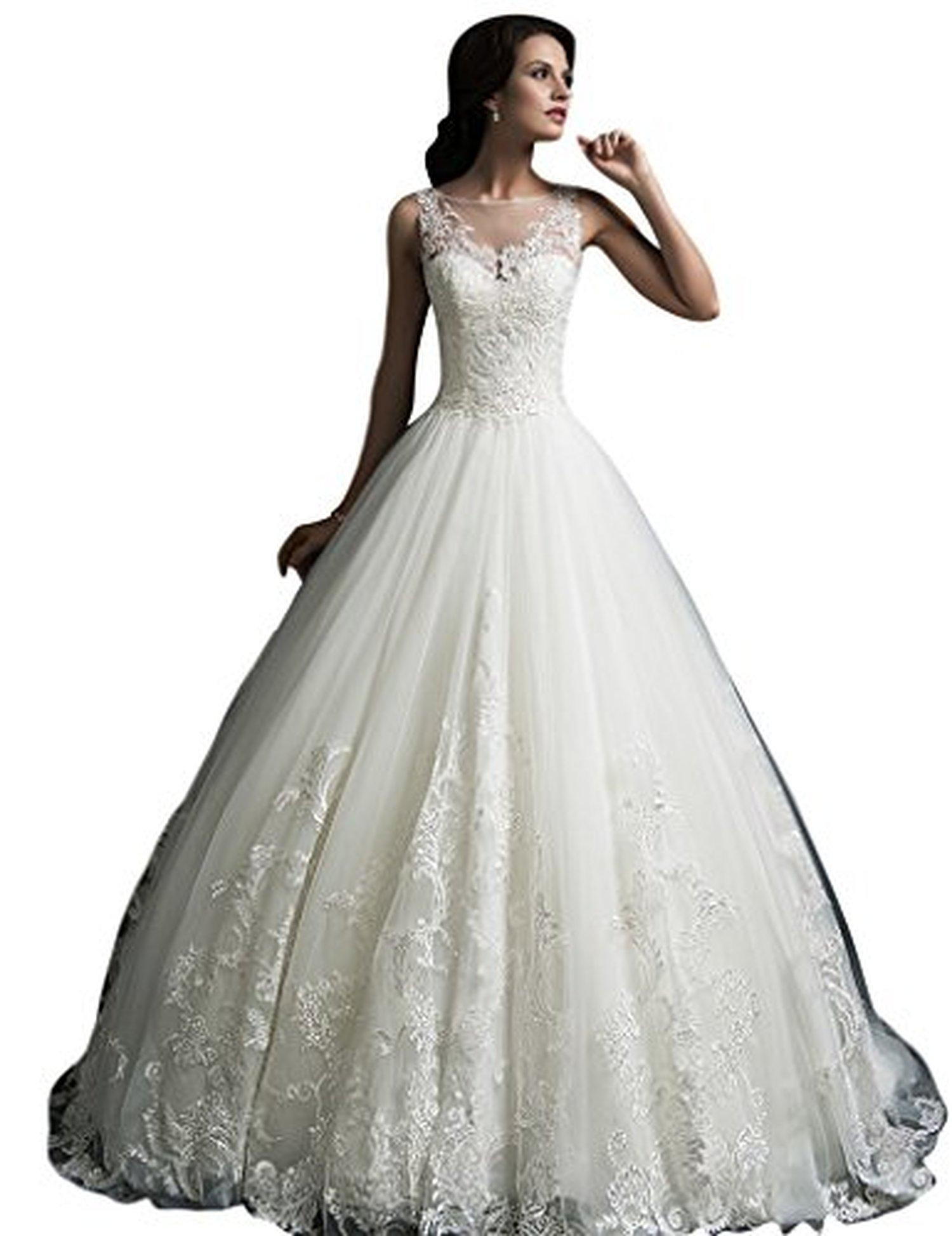 JoyVany Vintage Lace Princess Wedding Dress 2016 Long Ball Gown Bridal Dress Ivory Size 6