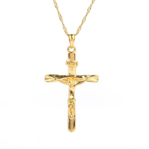 Jewelry Gold Plated Jesus Christ Cross Crucifix INRI Pendant Necklace