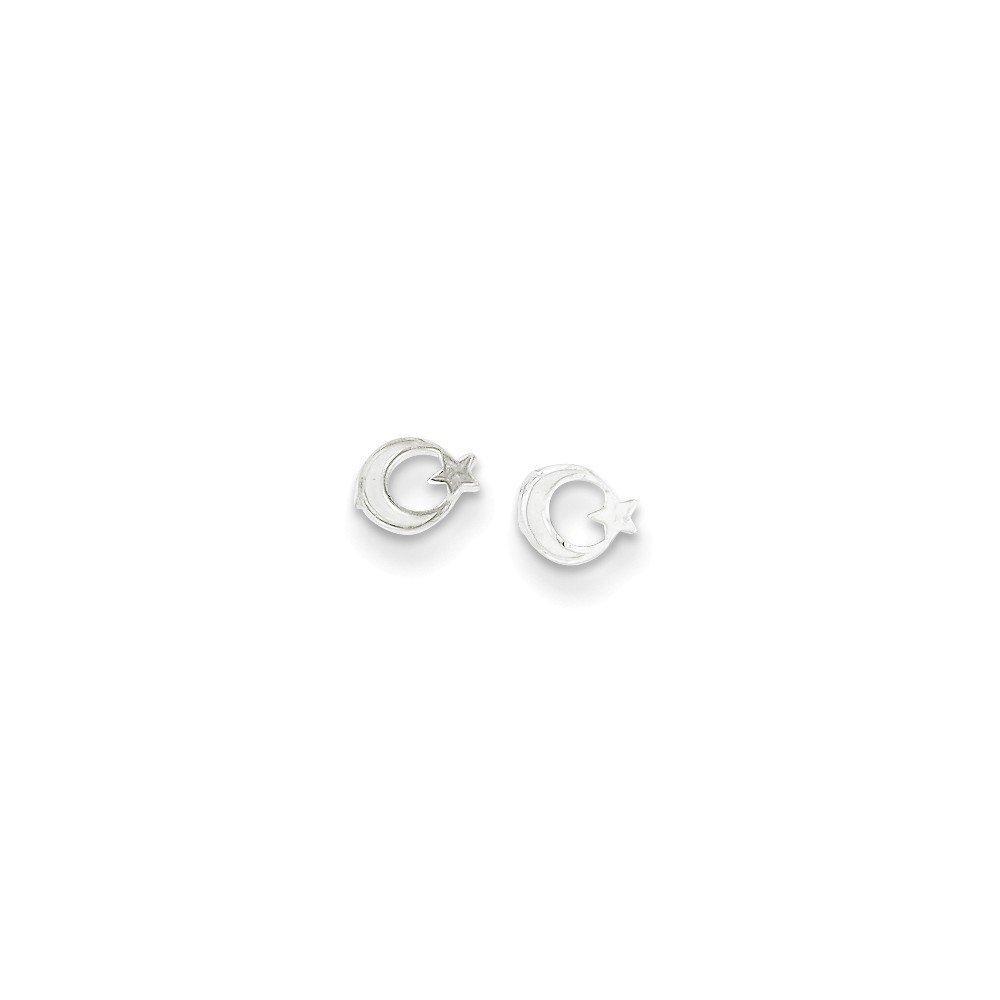 .925 Sterling Silver 5 MM Children's Star & Moon Mini Post Stud Earrings