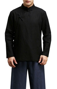 Plaid&Plain Men's Linen Slim Fit Band Collar Frog-Button Long Sleeve Shirt Black XS