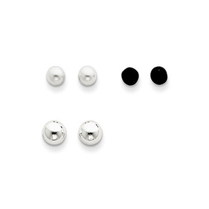 .925 Sterling Silver 5 MM Cultured Pearl, Onyx & Bead Post Stud Earrings Set