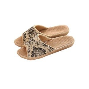 Slip ons Unisex Non-slip Organic Linen Open Tote Sandals Moisture Wicking Flax Indoor or Outdoor Slippers Rubber Sole Ethnic VINTAGE STYLE Slippers Pantofle Unisex 11inch Black