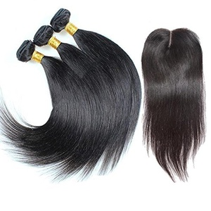 Ohlees? Women's India Straight Brazilian Hair Extensions Real 100% Human Virgin Remy Natural Premium Weave 3 Bundle weft + 1 pcs Lace frontal Closure 4*4 (141618+10) by Ohlees?
