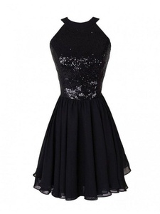 Winnie Bride Sparkly Sequins Little Black Homecoming Dress Cocktail Party Dress-22W-Black