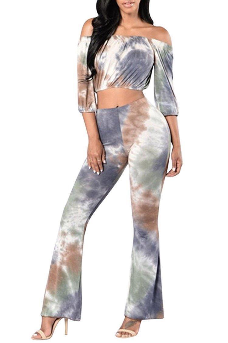 VamJump Women Tie Dye Off Shoulder Long Sleeve Crop Top Flare Pants Outffits