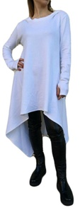 Kearia Women Fashion Hoodie Long Sleeve Irregular Hem Long Sweatshirt Outwear Coat White Large