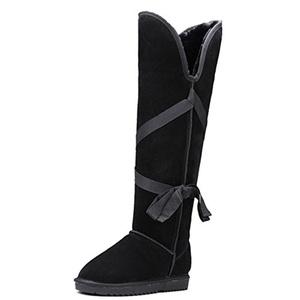Nine Seven Nubuck Leather Women's Round Toe Flat Heel Over The Knee Handmade Snow Boot (5.5, black)