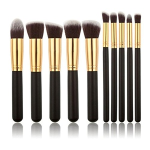 WANGSAURA? 10Pcs Professional Cosmetic Makeup Tool Kit Brush Set Face Powder Eye shadow Eyeliner Blusher (black and golden) by Hotportgift