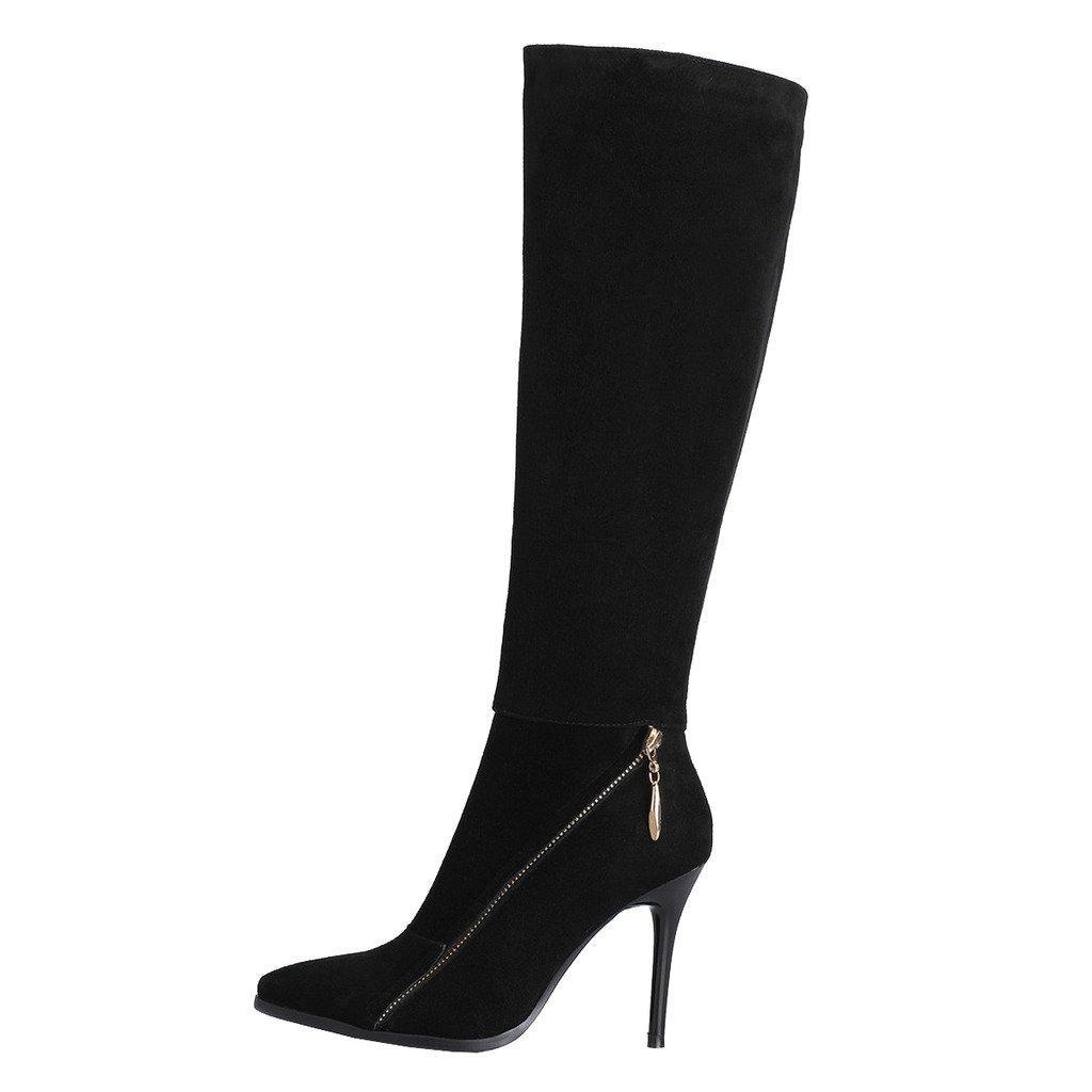 MERUMOTE Women's Stiletto High Heel Sexy Pointed Toe Genuine Leather Winter Spring Knee High Boots Black 10.5 US