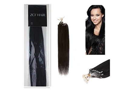 Style 16'' 18'' 20'' 22'' 24'' 26'' Easy Loops Micro Rings Beads Tipped 100% Real Human Hair Extensions Straight Hair 8 Colors Beauty Design Salon (16inch 40g for 100s one pake, 01 jet black) by ZCF HAIR