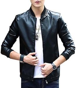 Aishang Mens Solid Full Zip Leather Varsity-Jackets