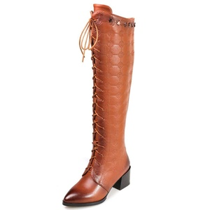 Nine Seven Leather Women's Pointed Toe Chunky Heel Lace Up Handmade Knee High Long Boot (9.5, brown)