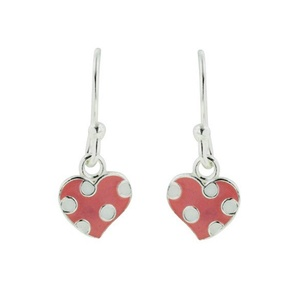 Tomas Sterling Silver Pink and White Polka Dot Heart Dangle Earrings