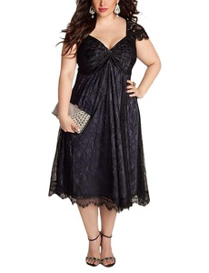 WANTU Womens Gothic V-neck Empire Waist Lace Party Midi Dress (US 20-22, black)