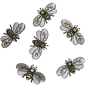 Lot of 6Pcs Applique Patches Logo Patterns Animal Embroidery Iron On Cute Small Bee Applique Patch Sewing Lace Embroidered Craft Supply Fabric Decorative, Size 1-5/8