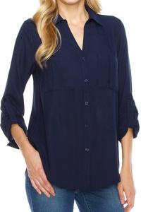 KLKD Women's Double Pocket Cuffed Long Sleeve Button Down Blouse Top,D1L01_Navy,Medium