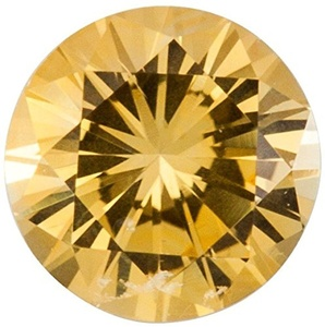 Faceted Precision Cut Yellow Sapphire Stone, Round Shape, Grade AA, 1.50 mm in Size, 0.02 Carats