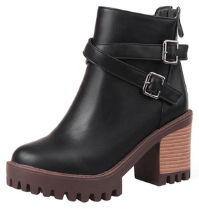 Summerwhisper Women's Trendy Buckled Cross Straps Round Toe Back Zipper Stacked Block High Heel Platform Ankle Boots Black 5 B(M) US