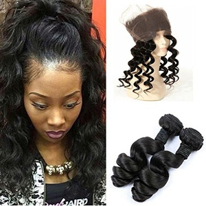 Pre Plucked 360 Lace Frontal with Bundles Brazilian Virgin Hair Loose Wave 2 Pcs Human Hair Weave Bundles With 360 Lace Frontal Closure