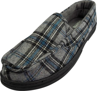 Perry Ellis Portfolio - Mens Microsuede Plaid Moccasin Slipper, Grey, Turquoise 39410-Large