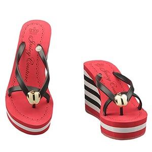 MonicKruh Shoes Womens Red Apple Wedge High Heels Beach Flip Flop Wisp Sandals