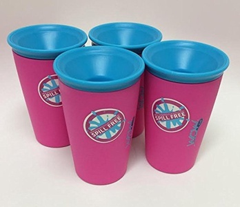 Wow Cup for Kids - NEW Innovative 360 Spill Free Drinking Cup - BPA Free - 9 Ounce (4 Pack, Pink) by Wow Kids