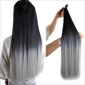 24 Inches Ombre Color 1B/Dark Grey Long Silky Straight Clip in on 7 Pieces Full Head Set Hair Extensions 7pcs Hairpiece